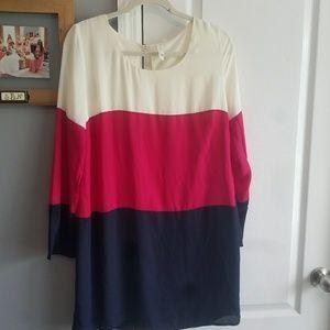 Cream, fuschia and navy dress